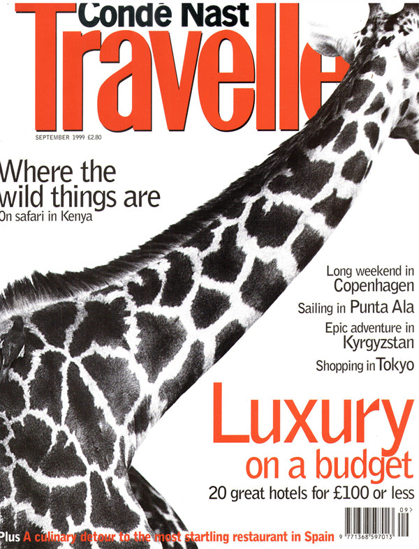 Conde Nast Traveller UK magazine cover with a giraffe.