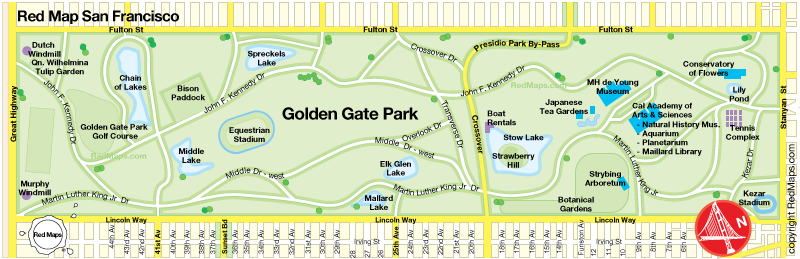 Map showing attractions in Golden Gate Park San Francisco