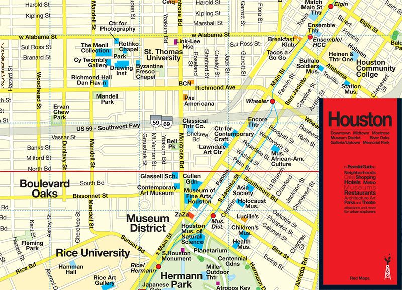 map of area near Menil Collection and Museum of Fine Arts Houston