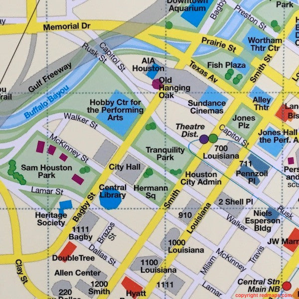 map of Downtown Houston showing Hobby Center and Sam Houston Park
