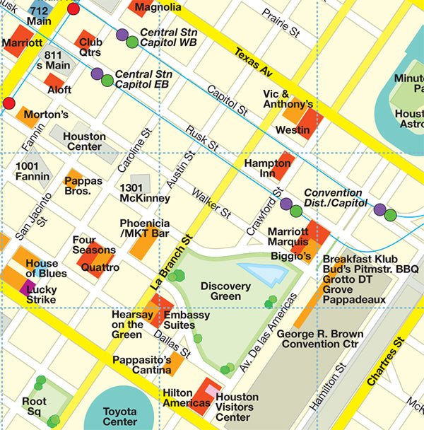 map of downtown houston by red maps