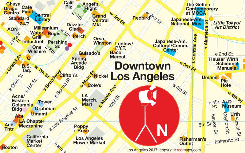 image of a map of downtown los angeles by red maps