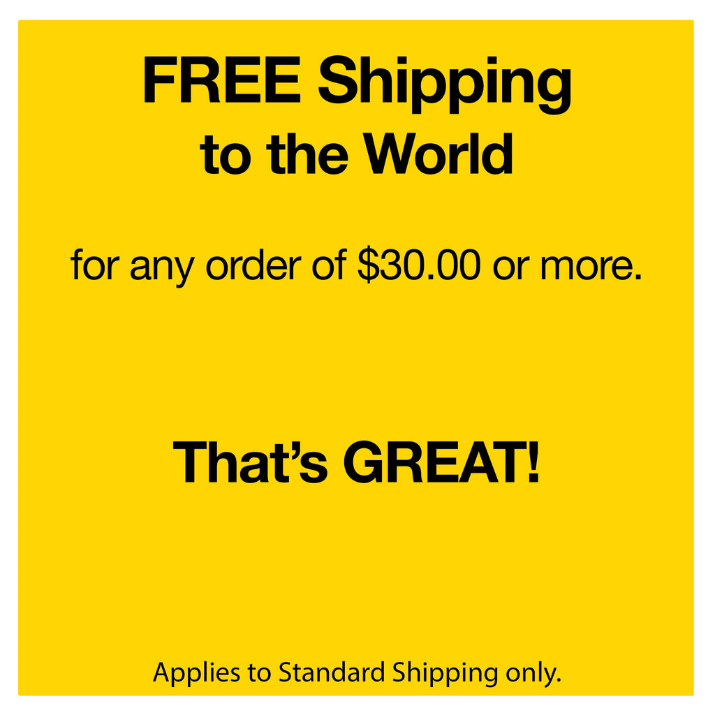 Free International Shipping Map Orders over $30.00