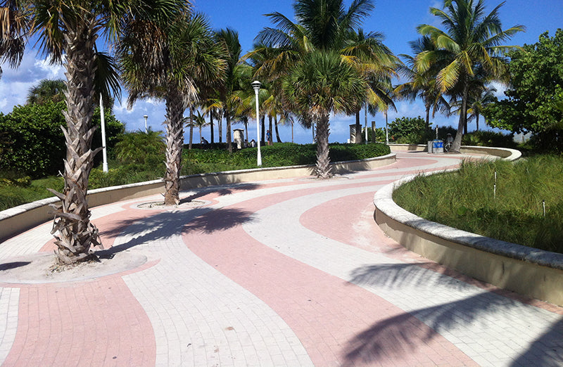 wavy pink beach path in South Beach Miami