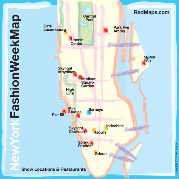 Map Of New York Restaurants.New York Fashion Week Map And Classic Nyc Restaurants Red Maps