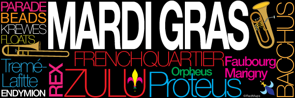 colorful graphic showing names of famous Mardi Gras marching groups