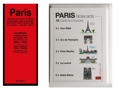 red maps paris guide and paris themed stationery