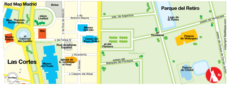 map showing the area around Prado Museum in Madrid