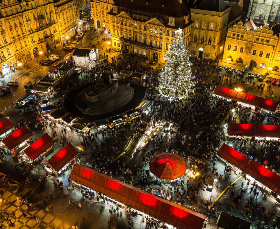 christmas market in old town Prague at night