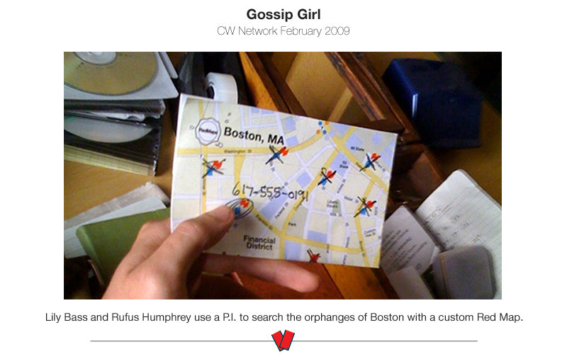 scene from TV show Gossip Girl of a map prop of Boston