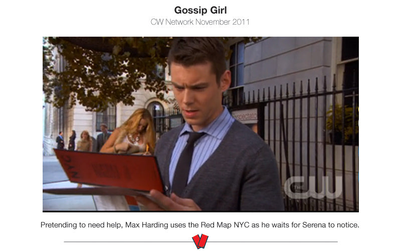 Scene from Gossip Girl TV show of a character holding Red Map of New York City