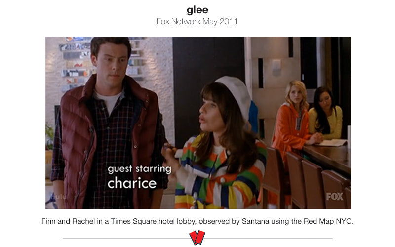 scene from Glee TV show with a character looking at the Red Map NYC