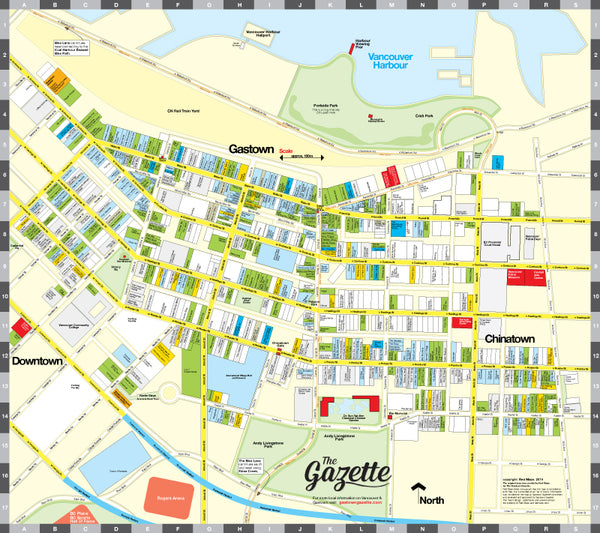 Custom map of Gastown neighborhood in Vancouver, BC that shows shops, cafes, restaurants, galleries and local businesses.