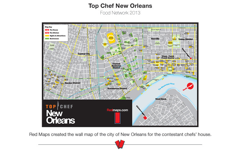 image of a wall map of New Orleans that was created for TV show Top Chef New Orleans