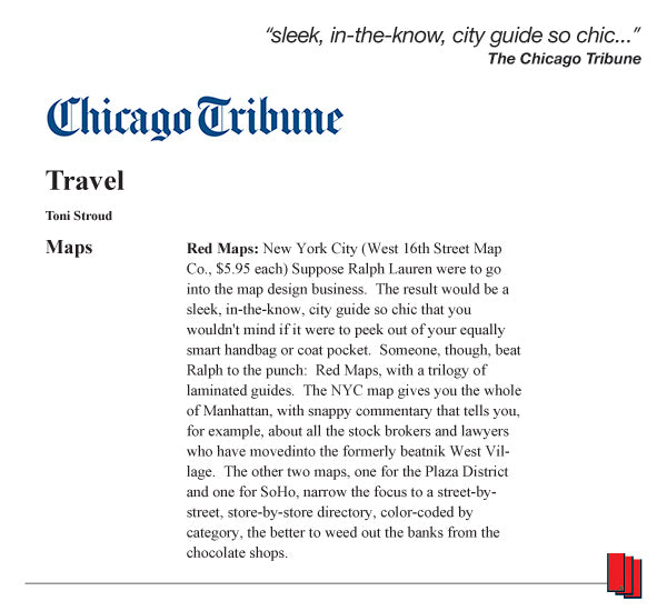 Chicago Tribune article recommending Red Maps city guides