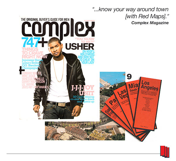 Complex Magazine cover showing Usher and an article recommending Red Maps city guides