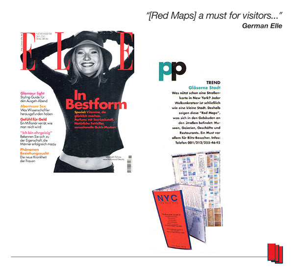 Elle Germany Magazine cover showing Gwyneth Paltrow and an article recommending Red Maps city guides