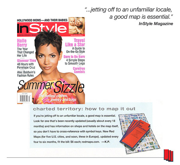 InStyle Magazine cover showing Halle Berry with an article recommending Red Maps city guides