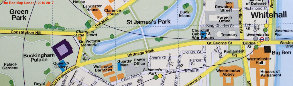 map showing areas around Buckingham Palace and St.James's Park