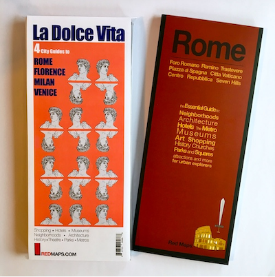 image of red map Rome and set of italian city guides called la dolce vita