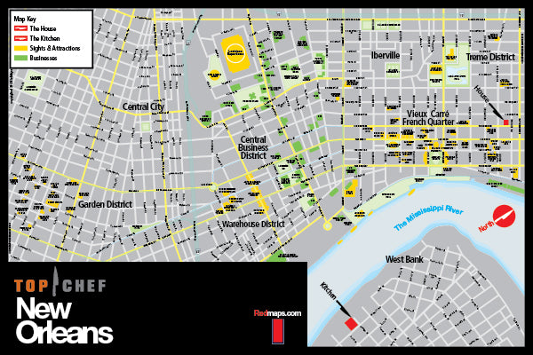 Top Chef New Orleans custom wall map prop, created by Red Maps.