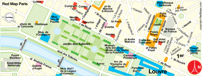map of Tuileries gardens in Paris by Red Maps