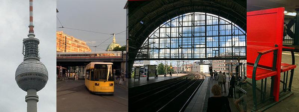 image of Berlin train station and a Berlin U-Bahn red bench