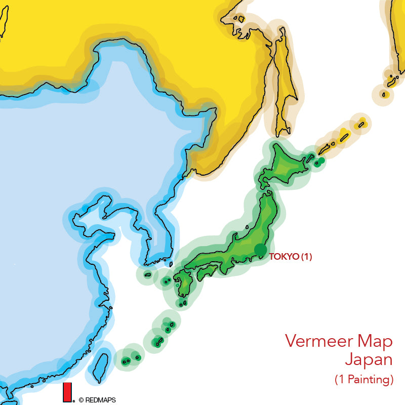 map showing location of a Vermeer painting in Tokyo Japan