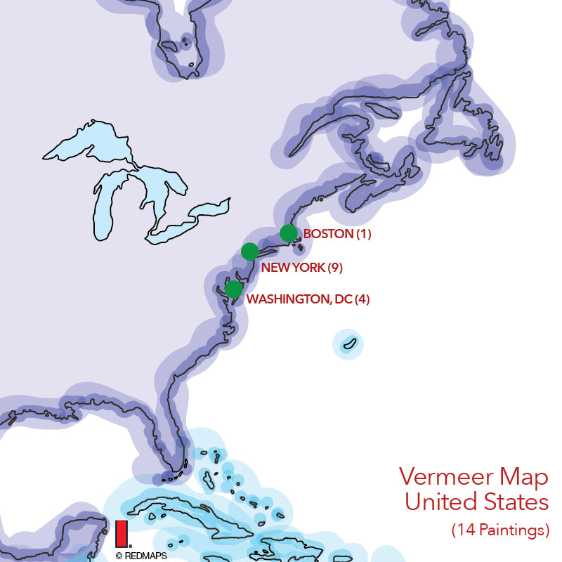 map showing locations of all Vermeer paintings in United States