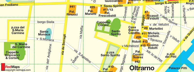 Florence map showing Santa Maria del Carmine area