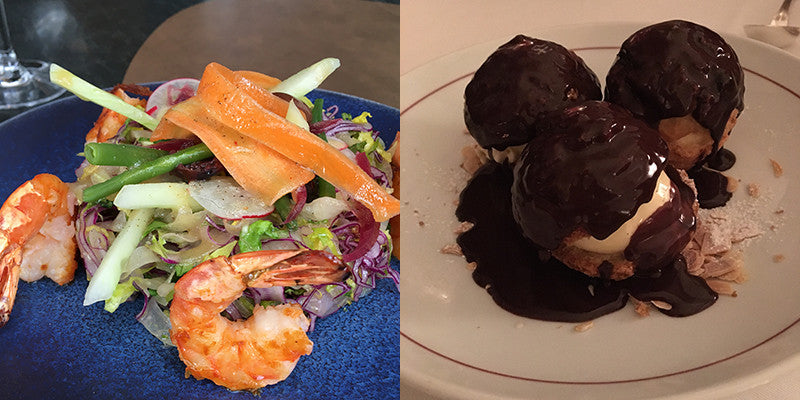 images of food in a paris restaurant profiteroles shrimp salad