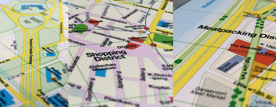 Detail photo of a foldout Red Map City Guide