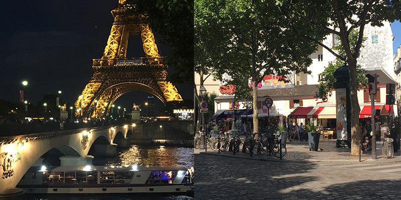images of eiffel tower and latin quarter street scene paris