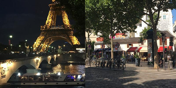 Images of Paris including bottom of Eiffel Tower at night and Paris cafe street scene