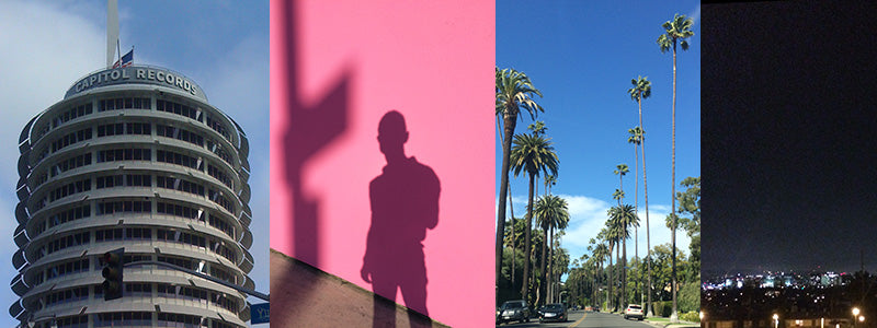 photos of Capitol Records Building and famous Pink Wall in Los Angeles