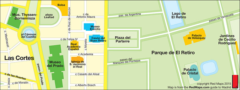 map showing Prado and Museo Thysse-Bornemisza area
