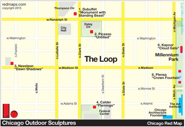 Map showing outdoor public sculptures in Downtown Chicago Loop District.