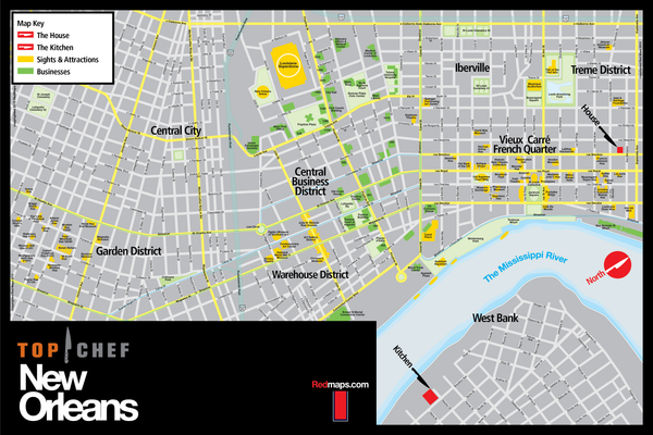 Custom black and gray colored map of New Orleans for the Top Chef television program.