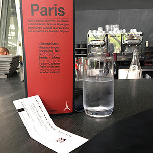 map of paris red map at a restaurant le frank at fondation louis vuitton