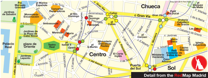 detail of map of madrid spain old city