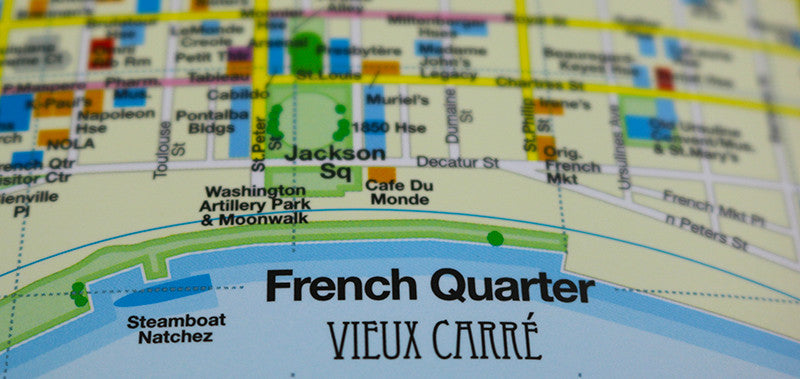 photo of New Orleans map showing Jackson Square and Cafe du Monde.
