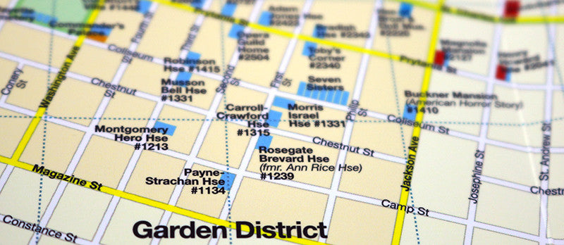 new orleans garden district map showing historic houses and landmarks