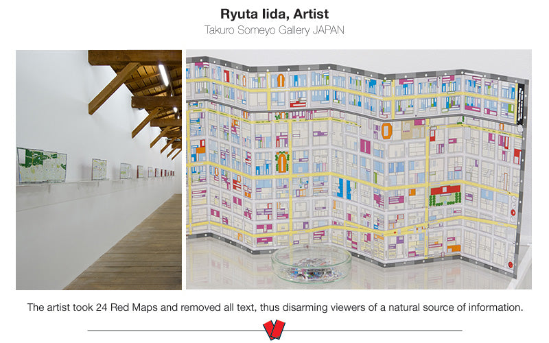 photo of Red Map SoHo with all its words cut out by the Japanese artist Ryuta Iida