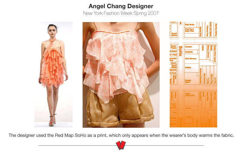 photo of Angel Chang designed clothing with images of the Red Map Soho in the fabric