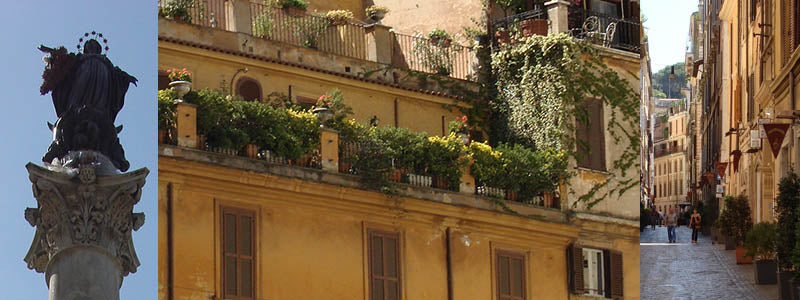 classic Rome balcony with plants and flowers
