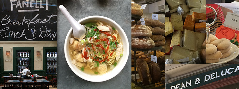 chinese soup and baked bread in SoHo NYC shops