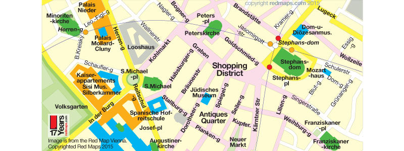 Vienna map showing antiques shopping district