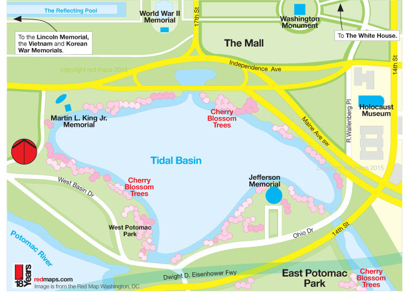 Map of Washington DC Tidal Basin path to see  the Cherry Blossom Trees