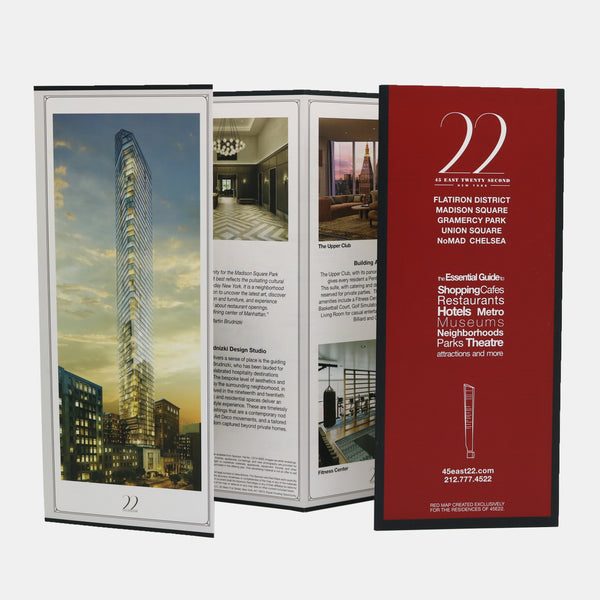 Custom map for building called Madison Square Park Tower with photographs of the building and its public spaces.