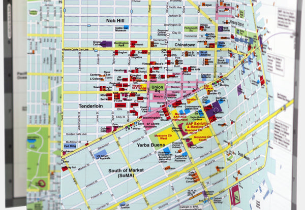 Custom map of San Francisco showing restaurants, hotels and shopping near Moscone Convention Center.
